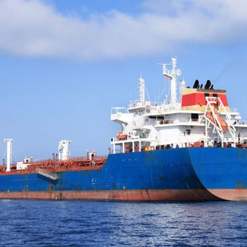 large blue oil tanker sailing